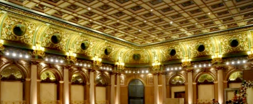 Majestic high ceilings with crown moldings