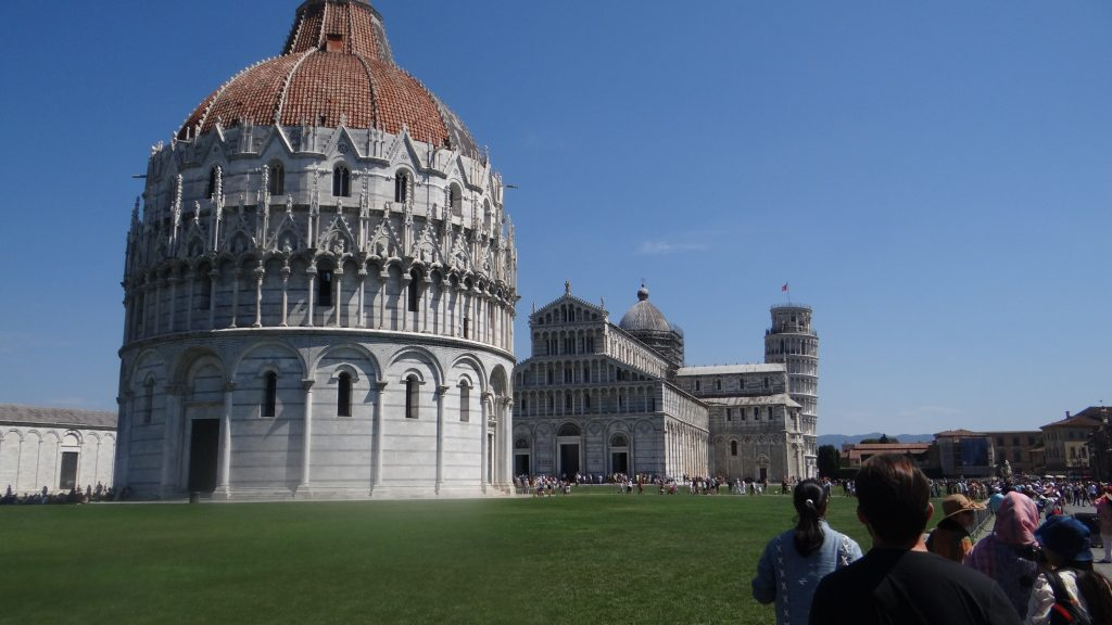 A leaning cylindrical tower of Romanesque architecture, Pisa