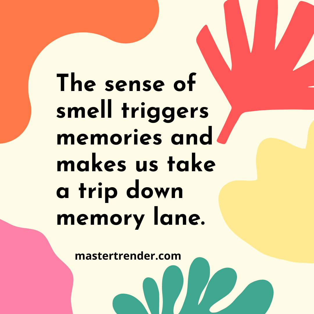 The sense of smell triggers memories and makes us take a trip down memory lane.